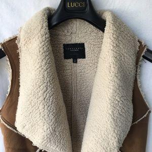 Sanctuary Jackets & Coats - Sanctuary Faux Suede Sherpa Fleece Drape Open Vest